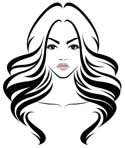 frau langes haar stil-ikone, logo frauen gesicht - langhaar stock-grafiken, -clipart, -cartoons und -symbole