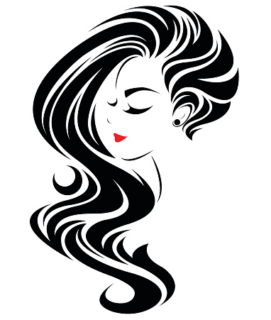Women Long Hair Style Icon Logo Women Face Stock ...