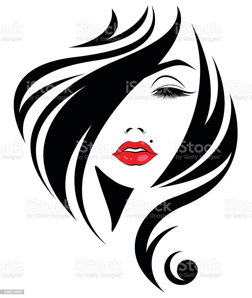 Mulher Cabelos longos ícone de estilo, com o logotipo mulheres - ilustração de arte em vetor
