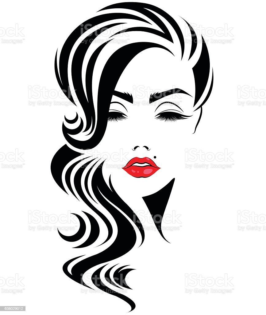 Vector Hairstyles: Women Long Hair Style Icon Logo Women Face Stock
