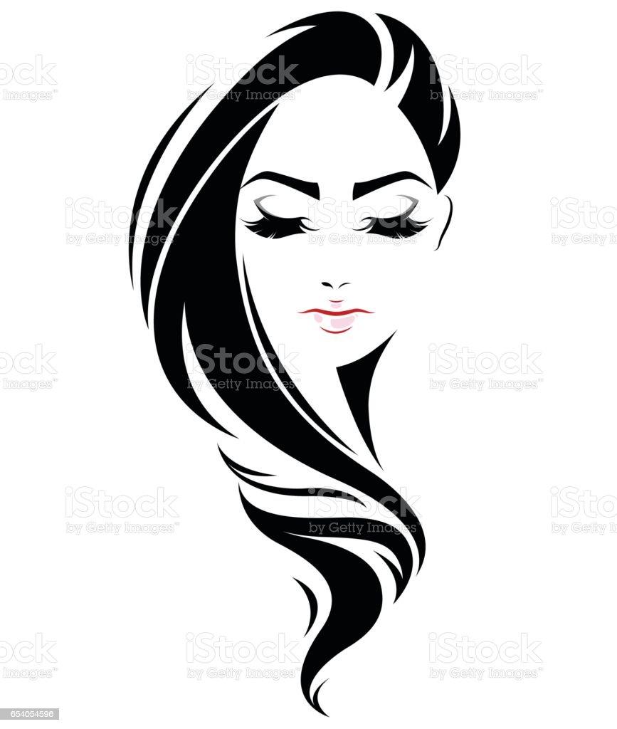 Woman Face Line Drawing Vector : Women long hair style icon logo face stock vector