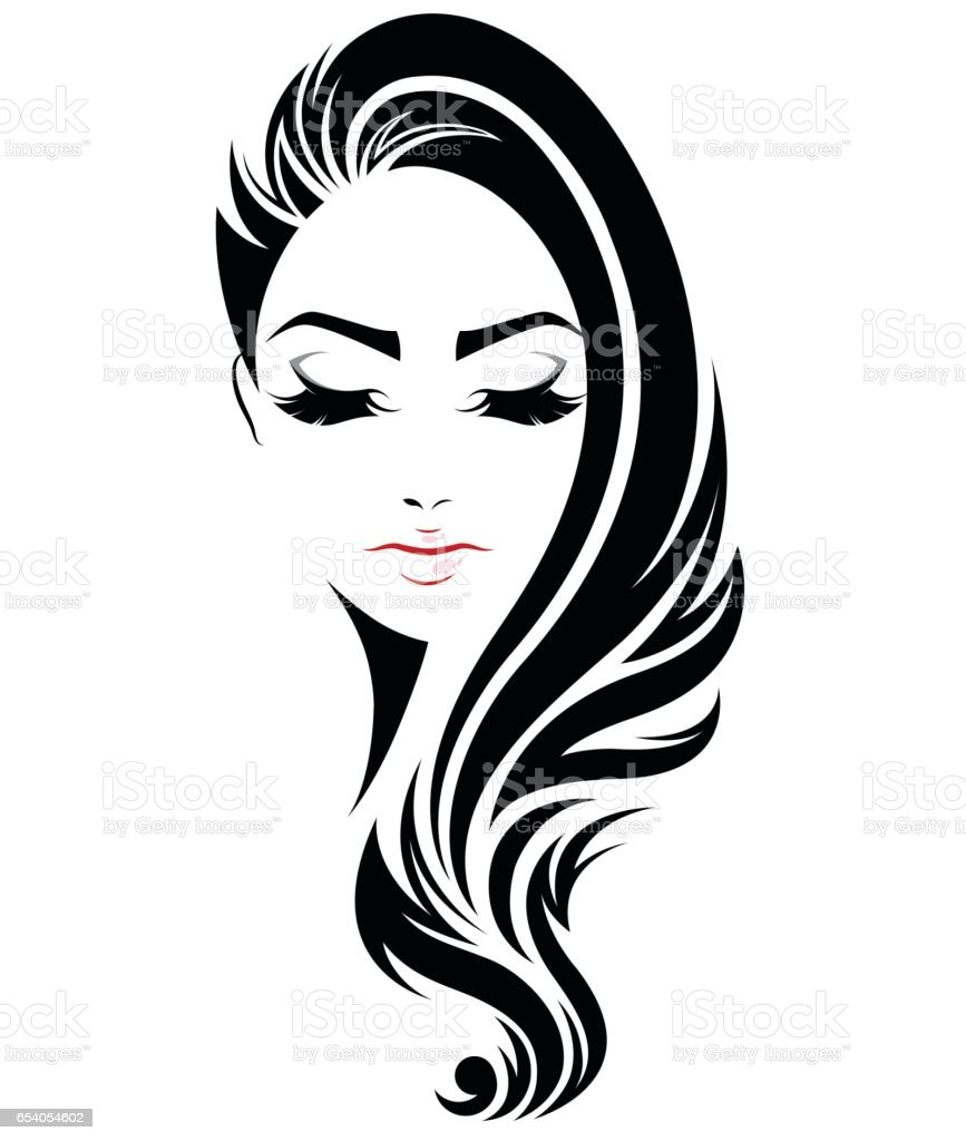 Women Long Hair Style Icon Logo Women Face Stock Vector ...