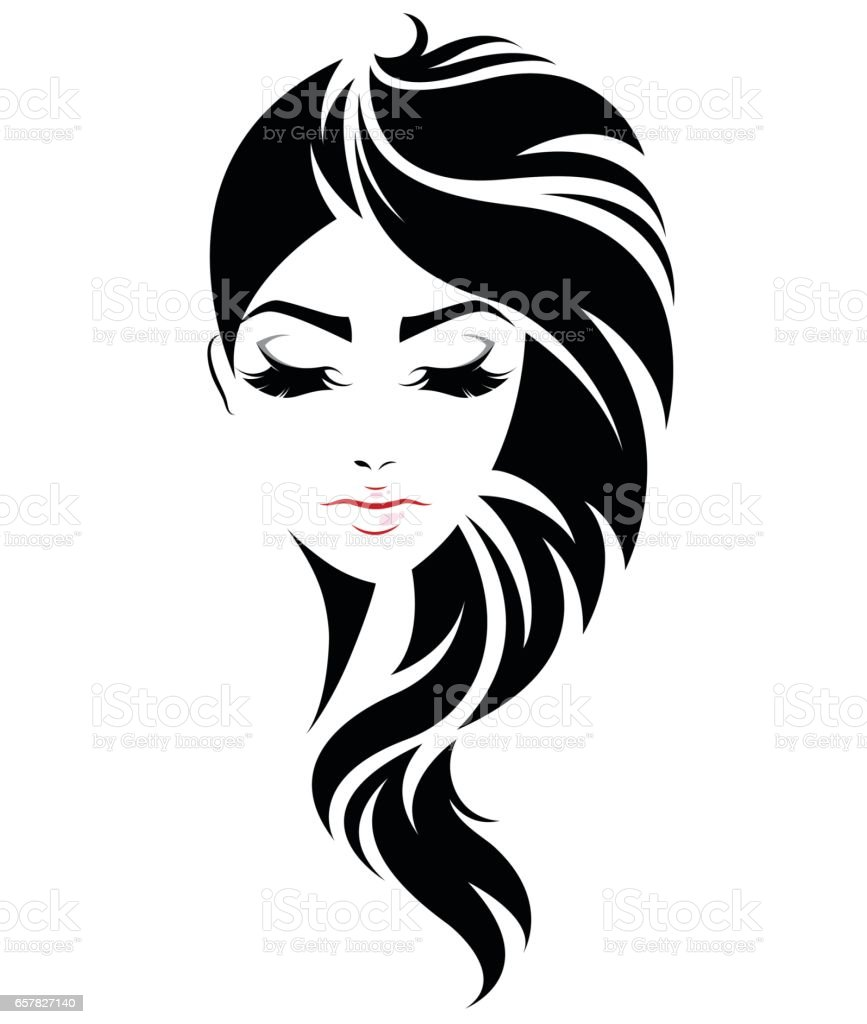women long hair style icon, logo women face vector art illustration