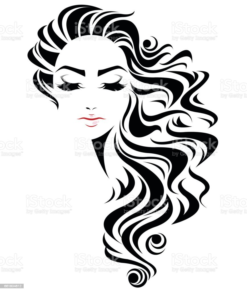Wedding Hair Style Black Vector Art: Women Long Hair Style Icon Logo Women Face Stock