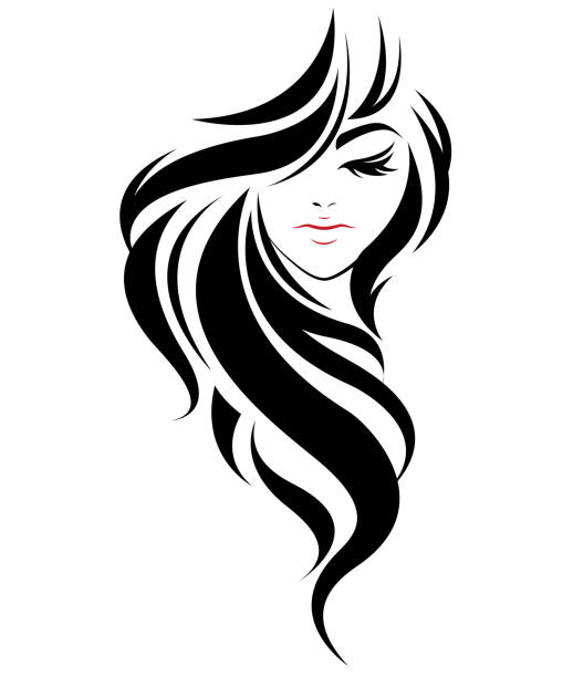 women long hair style icon, logo women on white background - hairdresser stock illustrations