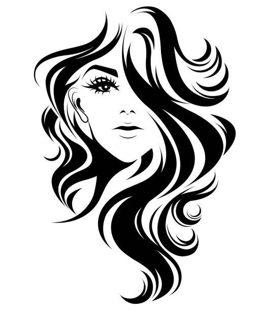 frauen lange haare stil-ikone, frauen logo auf weißem hintergrund - langhaar stock-grafiken, -clipart, -cartoons und -symbole