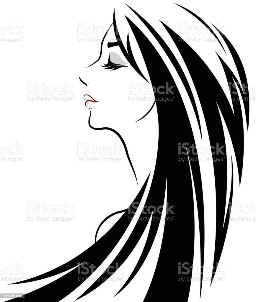 women long hair style icon, logo women vector art illustration