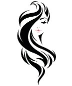 women long hair style icon, symbol women face on white background