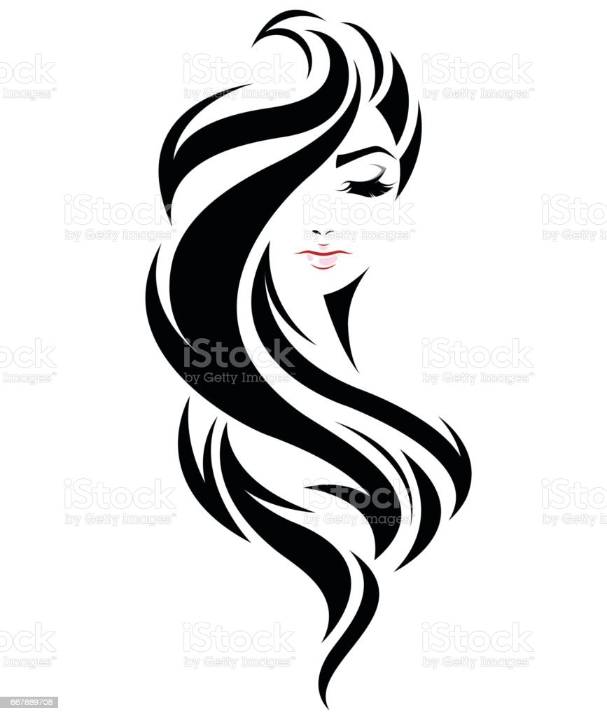 women long hair style icon, symbol women face on white background vector art illustration