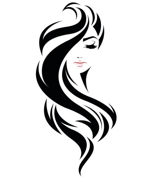 ilustraciones, imágenes clip art, dibujos animados e iconos de stock de icono de estilo de cabello largo las mujeres, que enfrentan las mujeres símbolo en fondo blanco - cabello negro