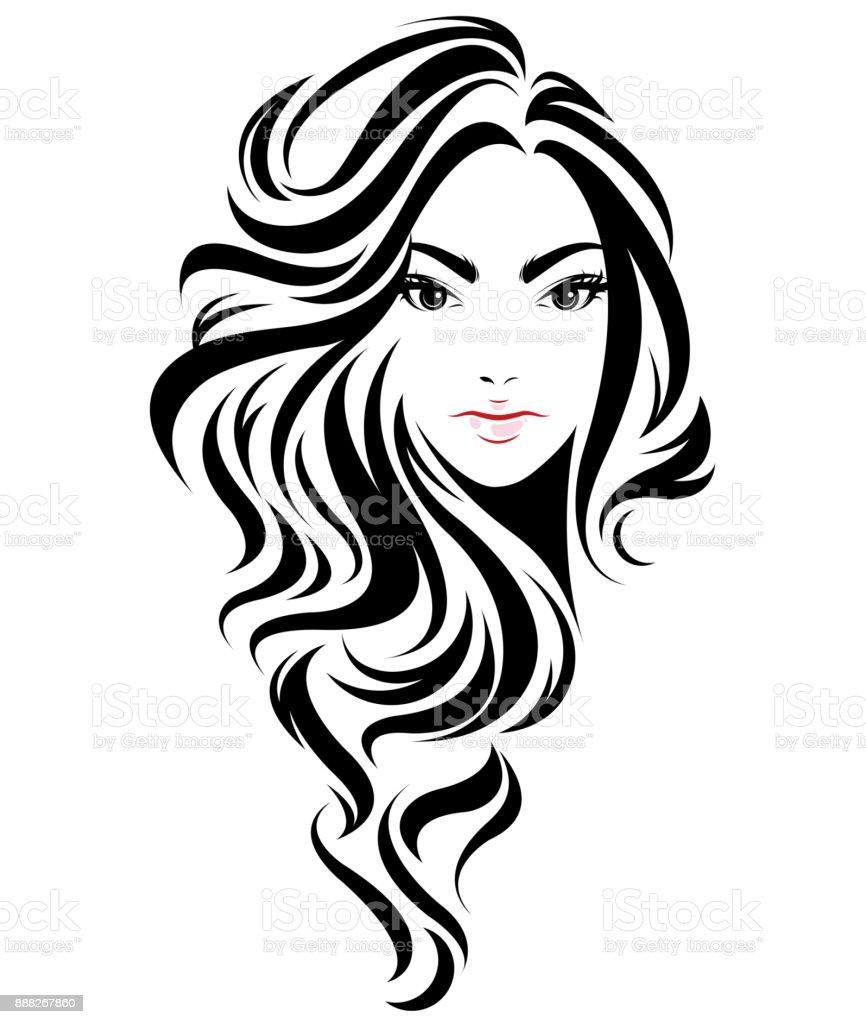 Women Long Hair Style Icon Symbol Women Face On White ...