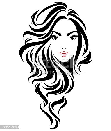 Women Long Hair Style Icon Symbol Women Face On White