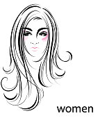 illustration of women long hair style icon, symbol women face on white background, vector