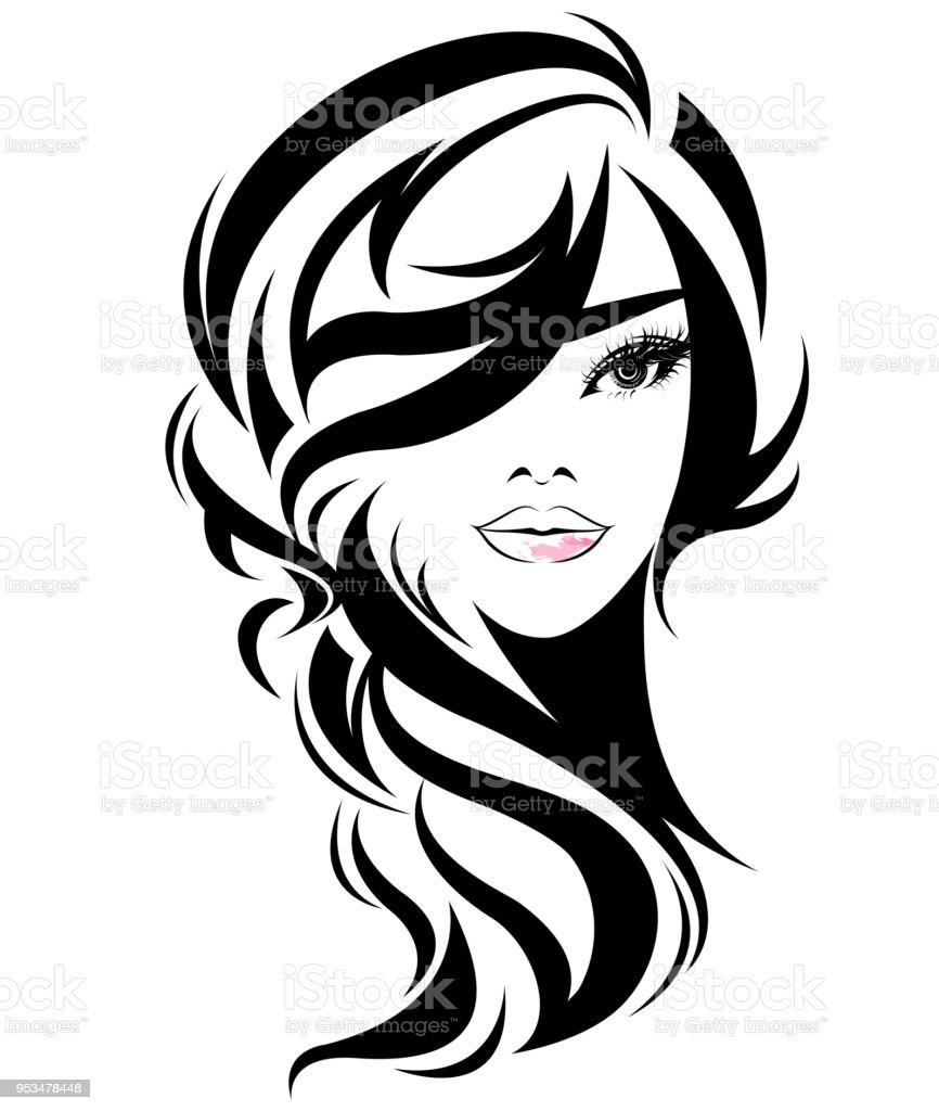Frauen Lange Haare Stilikone Symbol Frauen Auf Weißem Hintergrund