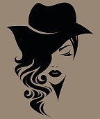 illustration of women long hair with a hat, retro logo women face on brown background, vector