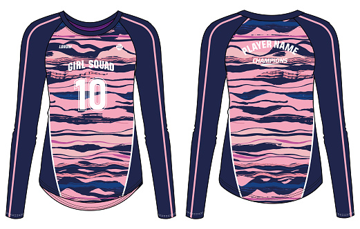 women Long Sleeve Sports Jersey t-shirt design concept Illustration suitable for girls and Ladies for Volleyball jersey, Football, Soccer, netball and tennis, Psychedelic printed Sport uniform kit
