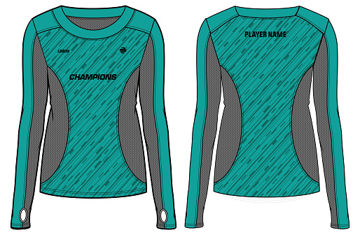Women Long Sleeve Sports t-shirt Jersey design concept Illustration Vector suitable for girls and Ladies for Volleyball, Soccer, netball, Football, tennis, badminton jersey. Sport uniform kit