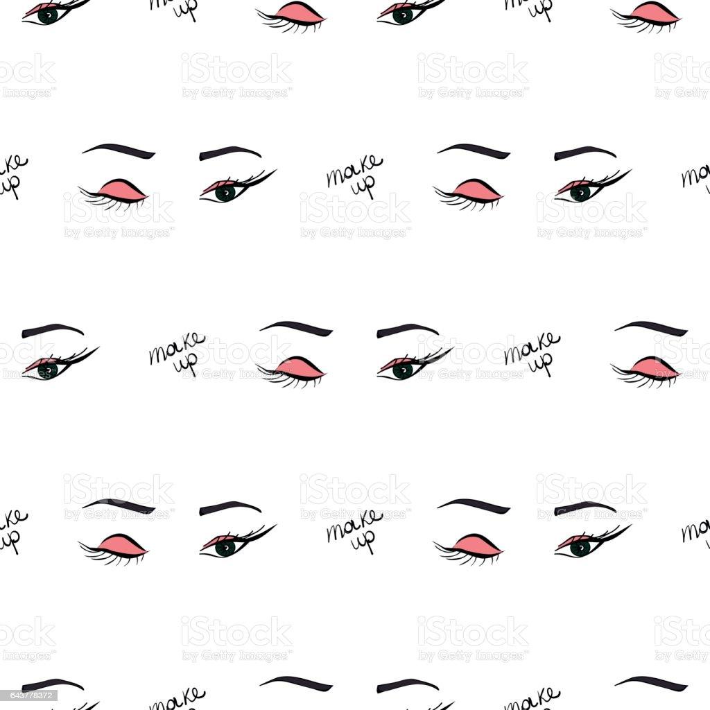 Women make up beauty fashion seamless pattern eyes, text, cosmetic. Contour vector illustration. векторная иллюстрация