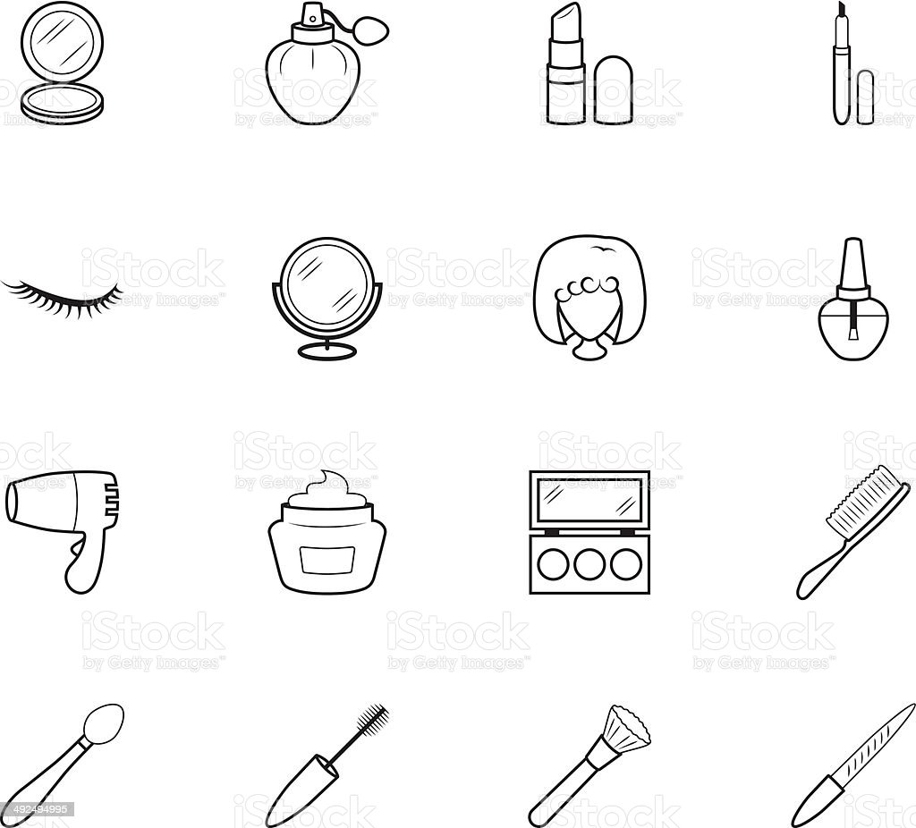 women makeup element vector black icon set on white background royalty-free stock vector art