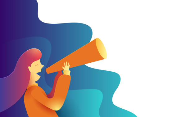 Women making some announcement in a paper trumpet. Advertisement Promo Marketing Concept.  Creative flat design for web banner and online advertising. Vector illustration. An illustration set for your web page, presentation, & design products. Fully scalable &  Vector illustration. Wallpaper, posters, banners, greeting card, wallpaper, flyers, invitation, brochure. form of communication stock illustrations