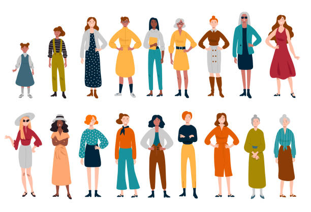 Frauen, viele weibliche Charaktere unterschiedlichen Alters – Vektorgrafik
