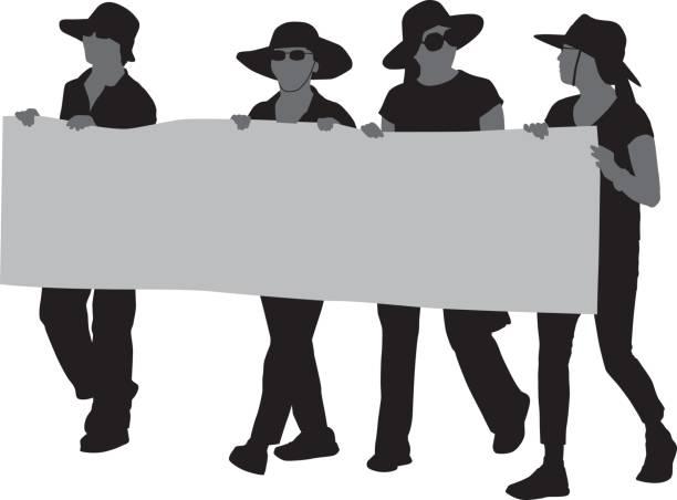 ilustrações de stock, clip art, desenhos animados e ícones de women marching with banner - greve