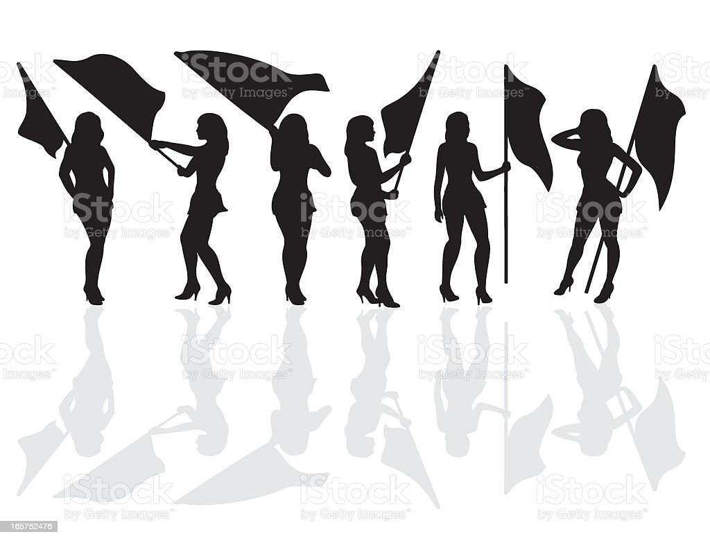 Women Masquerader Flag Silhouette royalty-free stock vector art