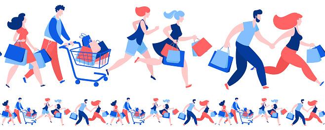Women men crowd running purchase buy paper bags . Summer sale discount black friday start .