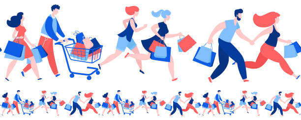 women men crowd running purchase buy paper bags . summer sale discount black friday start . - handel detaliczny stock illustrations