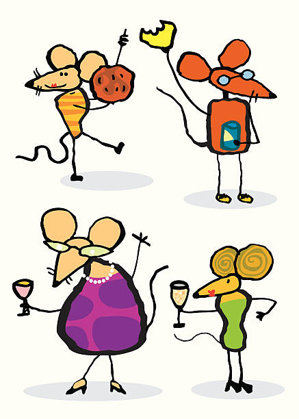 women mice party vektorkonstillustration