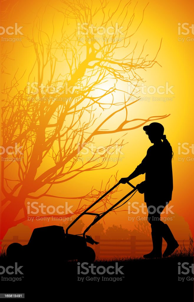 Women mow the grass royalty-free women mow the grass stock vector art & more images of back lit