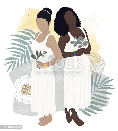 """istock 2 women of different ethnic groups get married on the beach against the backdrop of palm trees and flowers. support for gay marriage and lgbt communities. vector modern flat illustration""""n 1325068168"""