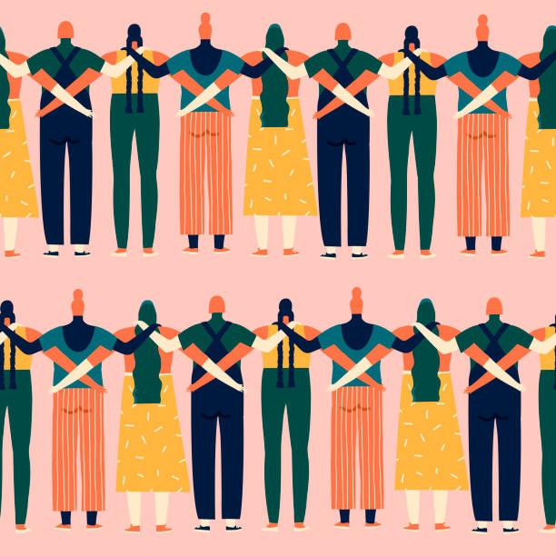 서로 다른 국적, 종교와 그들의 권리의 완벽 한 패턴에 대 한 서 있는 민족성의 여자 - 여성의 권리 stock illustrations