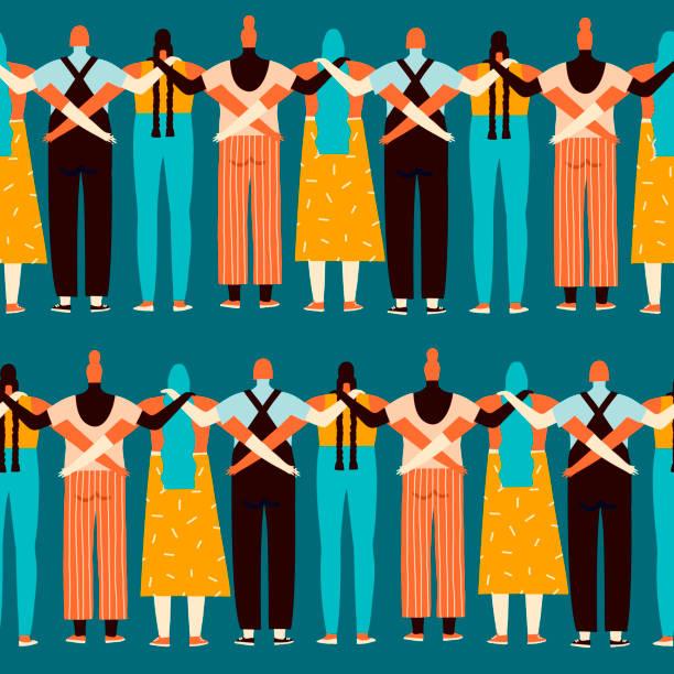 서로 다른 국적, 종교와 그들의 권리의 완벽 한 패턴에 대 한 서 있는 민족성의 여자 - 인권 stock illustrations