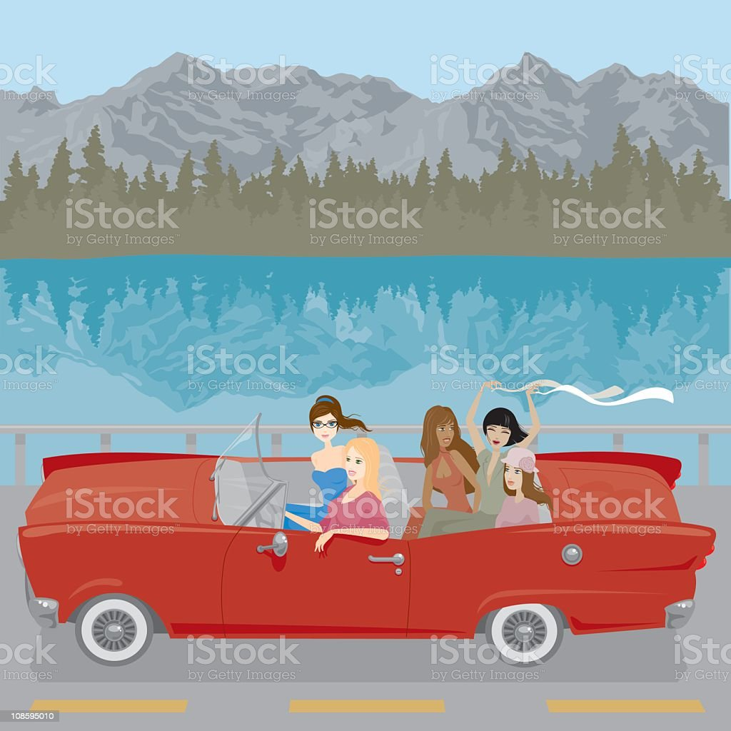 Women on a Road Trip royalty-free stock vector art