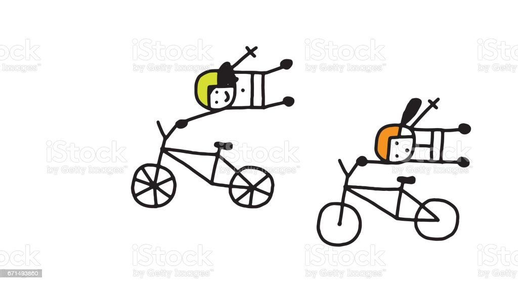Women on bmx bicycles vector art illustration