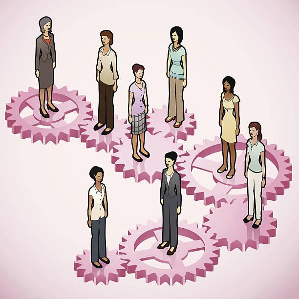 Women on Gears vector art illustration