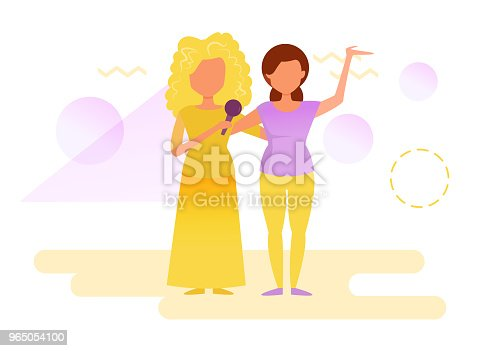Women On Stage Singing Stock Vector Art & More Images of Adult 965054100