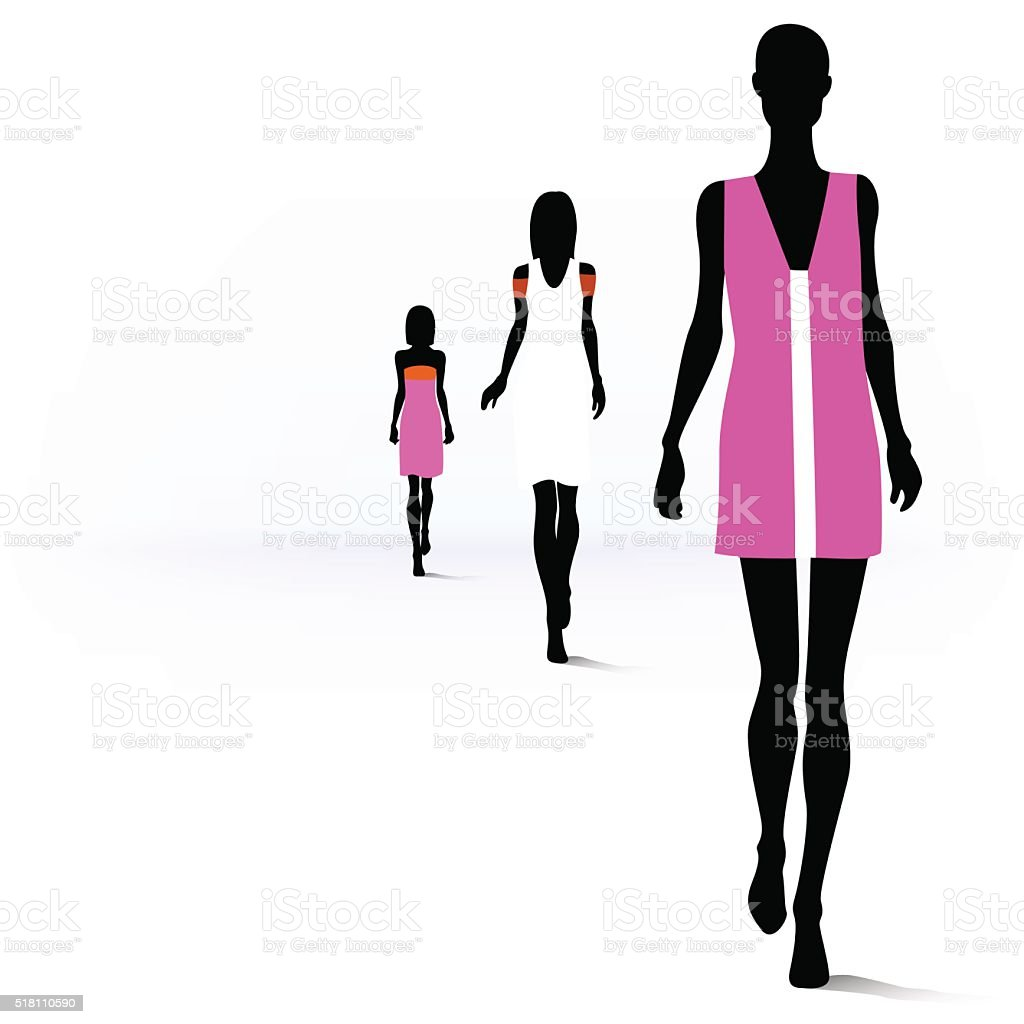 Women on the runway vector art illustration