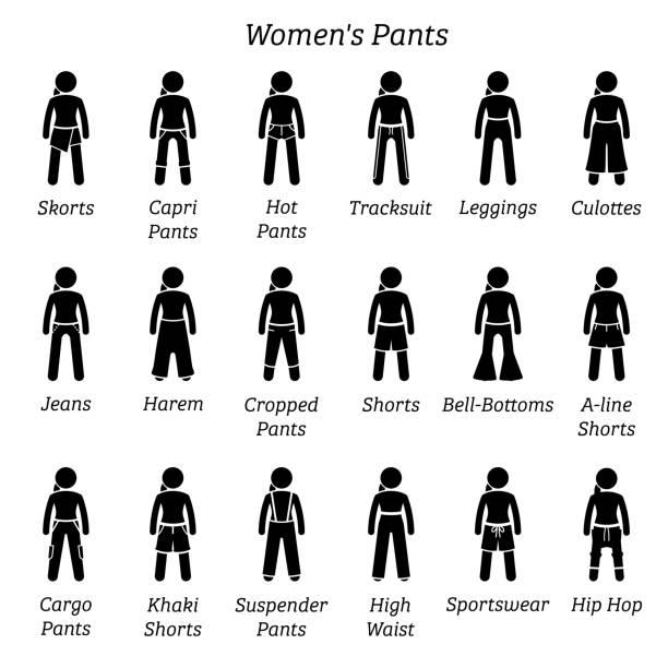 illustrazioni stock, clip art, cartoni animati e icone di tendenza di women pants, trousers, and shorts. - capri
