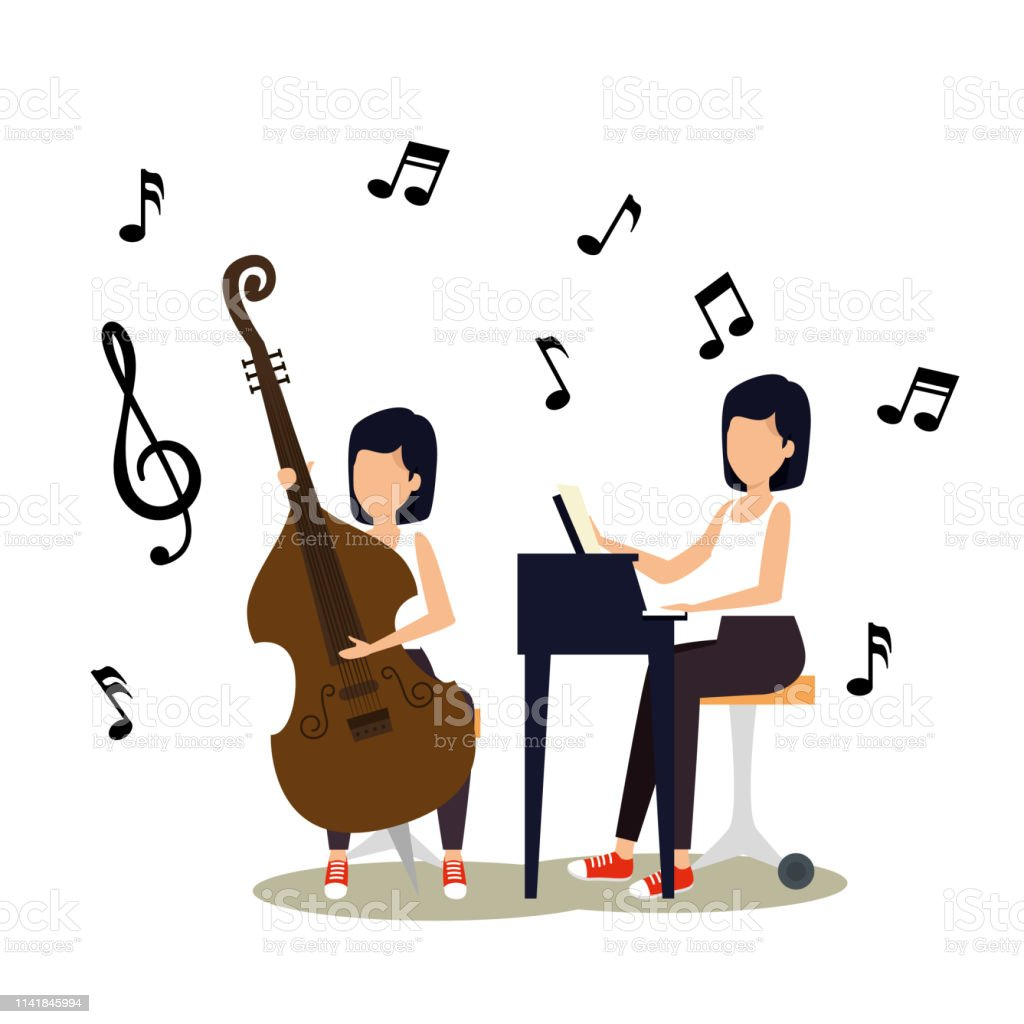 women play instrument with music notes vector illustration