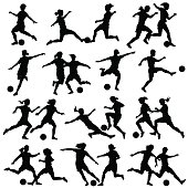 Set of eps8 editable vector silhouettes of women playing football with all figures as separate objects