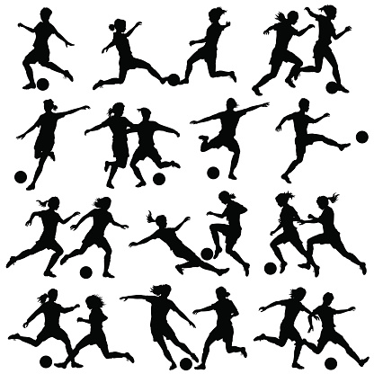 soccer silhouettes stock illustrations