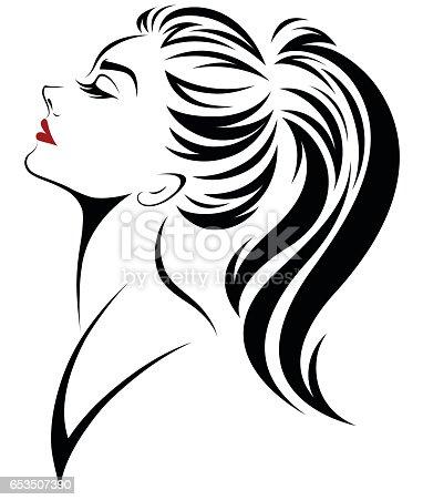 Women Ponytail Hair Style Icon Logo Women Face Stock