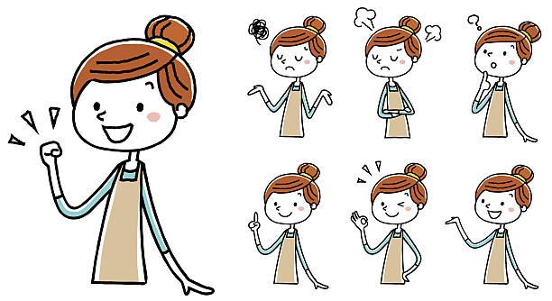 women pose variation of the apron - hausfrau stock-grafiken, -clipart, -cartoons und -symbole