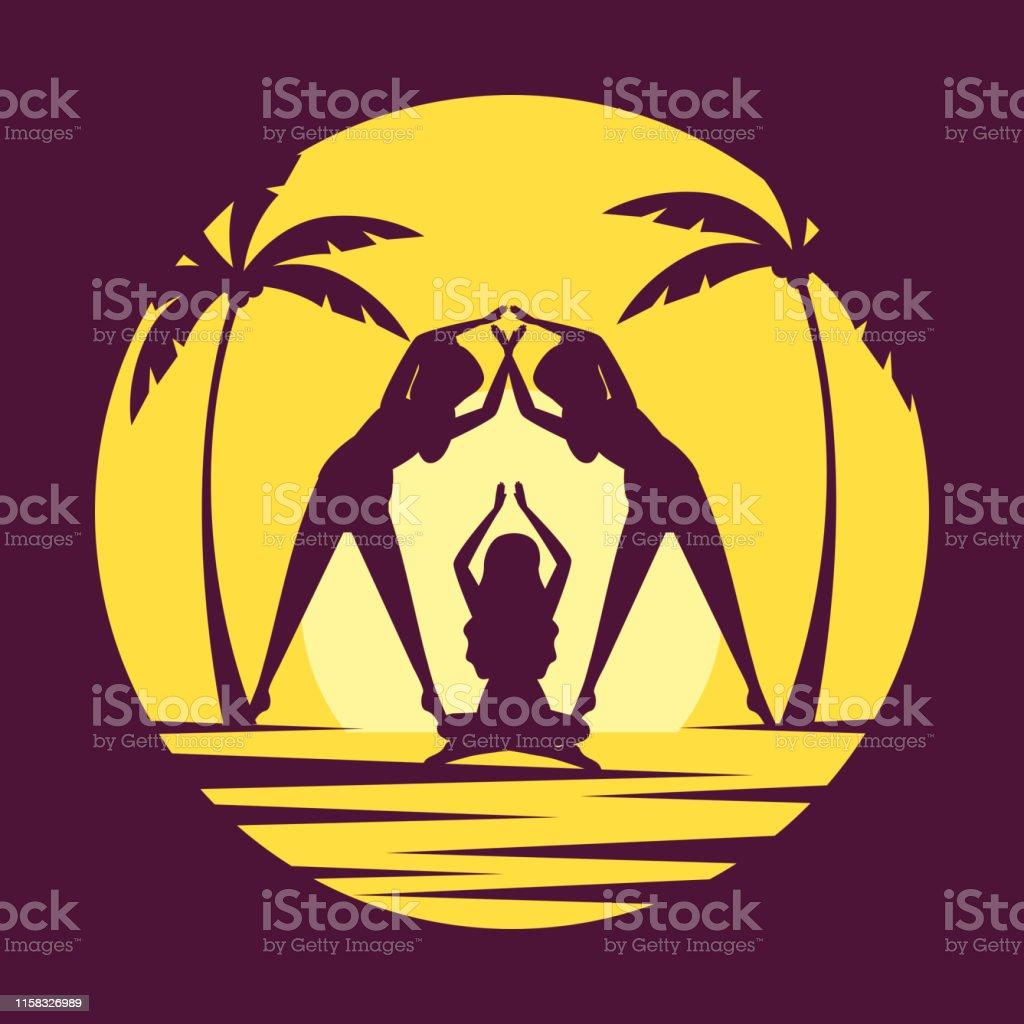 women practice yoga relax position vector illustration