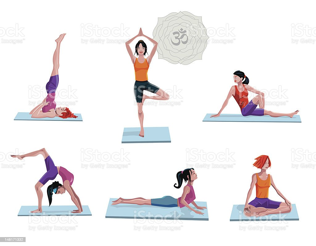 Women Practicing Yoga royalty-free women practicing yoga stock vector art & more images of adult