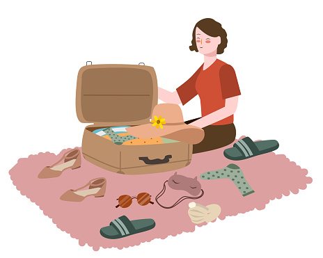 Women prepare clothes put suitcase for travel white isolated background with flat cartoon style