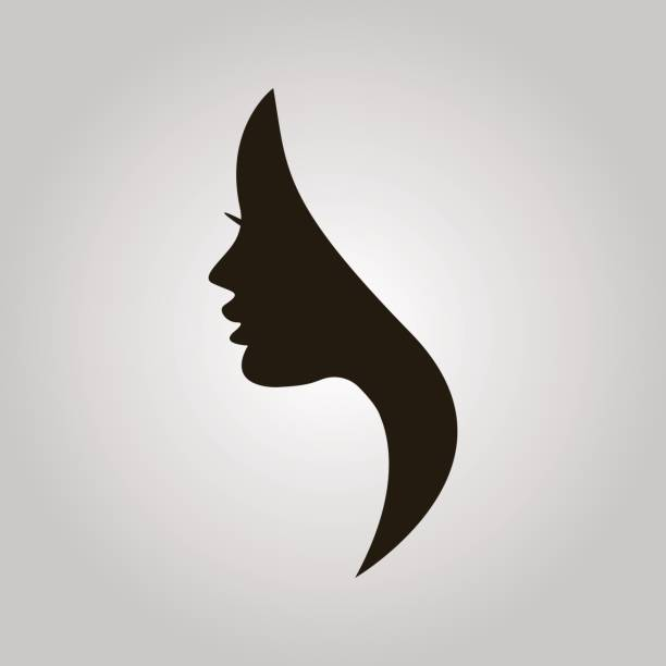 women profile silhouette on the grey background - female faces stock illustrations, clip art, cartoons, & icons