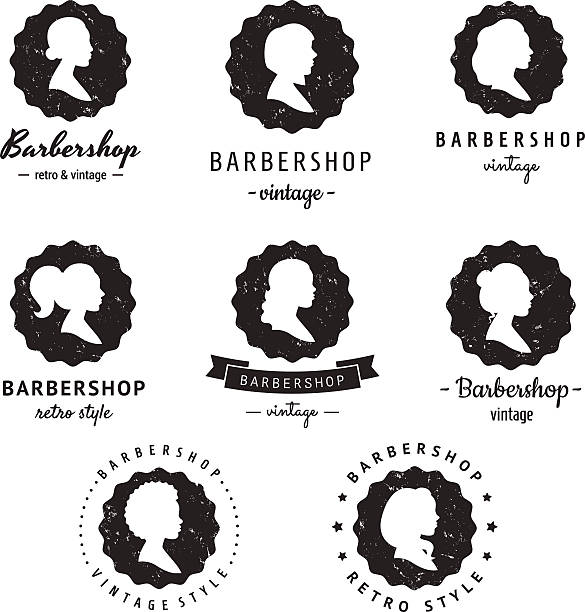Women Profiles Silhouettes Barbershop Hair Salon Logo Badges Vintage Vector Set